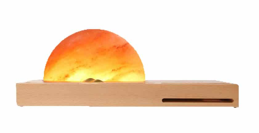 Himalayan Ambient Stone Wooden Charger Lamp