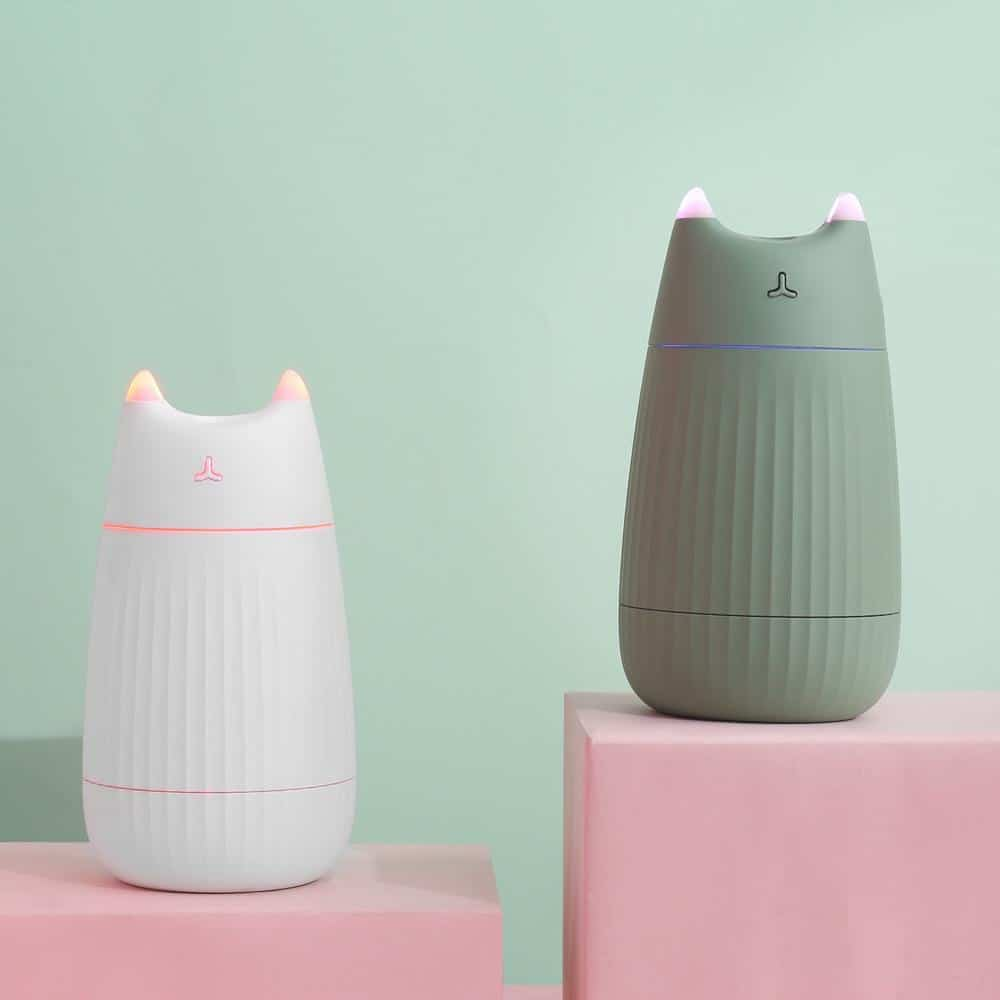 a white and green cat humidifier