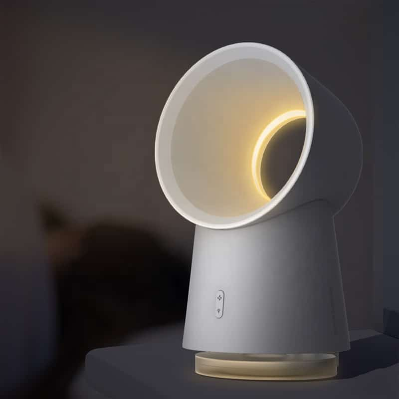A white mini blade-less fan with humidifier LED night light